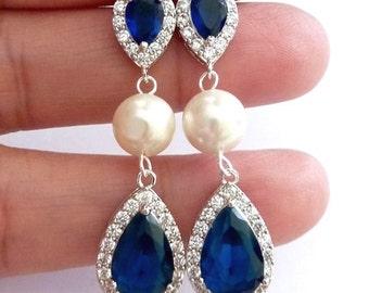 Crystal Pearl Bridal Earrings Silver Sapphire Peardrop Cubic Zirconia Matching Posts Bridal Jewelry Wedding Jewelry Wedding Pearl Earrings