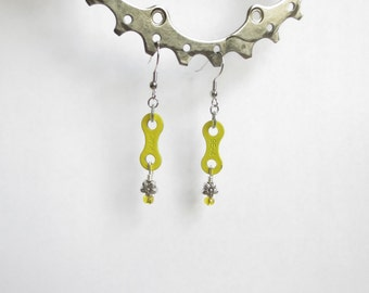 Yellow Enameled BMX Bicycle Chain Link and Flower Bead Earrings , Love Earrings ,  Upcycled Jewelry , Recycled Bikes