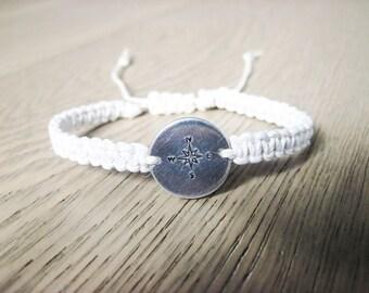 Compass Bracelet, Hemp Bracelet, Long Distance Relationship, Best Friend Gift, Moving Away Gift