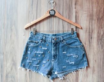 Lee high waist vintage studded denim shorts | High waisted denim shorts | Ripped distressed shorts | Festival hipster shorts |