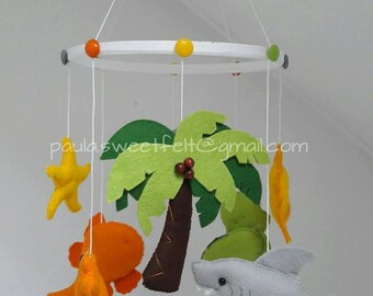 Sun n' Sea mobile / Baby mobile Sun 'n Sea/ Hanging crib/ceiling mobile / Nursery decoration / turtle shark octopus clown fish