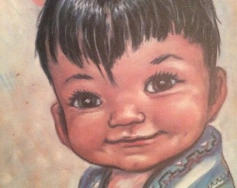 "American Indian child's print. Vintage KECHINA, 1960's Toddler boy. 8"" X 10.25"""