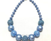 Toddler or Girls Pretty in Blue Chunky Necklace - Princess Chunky Necklace - Blue and Silver Chunky Necklace - Flower Girl Chunky necklace