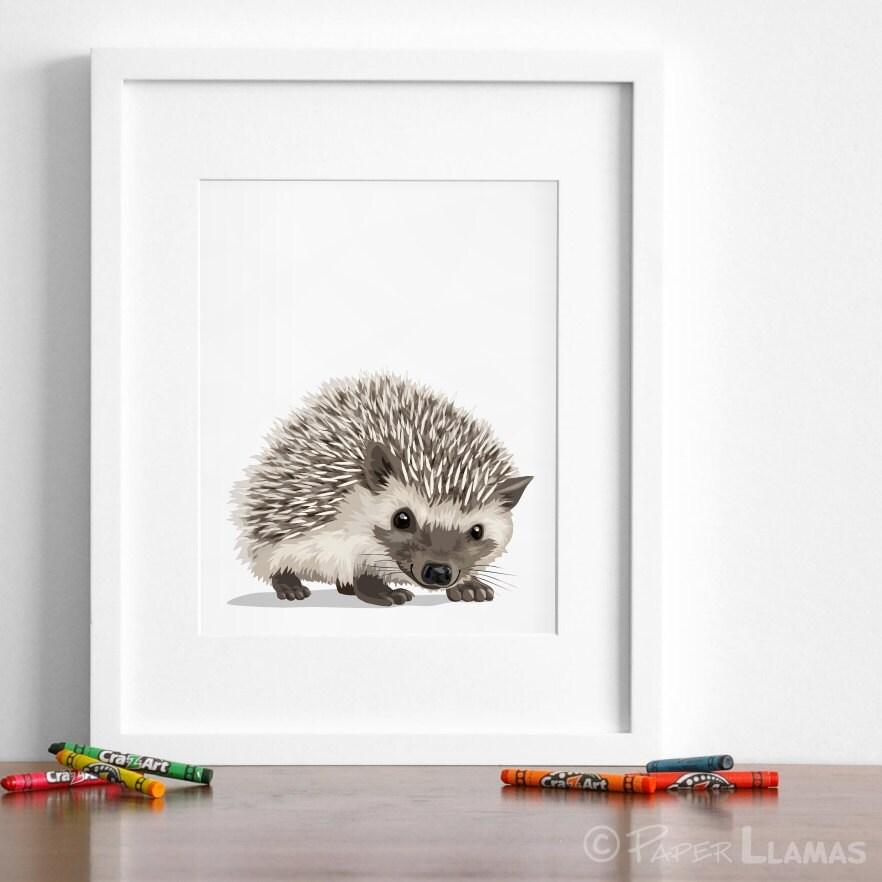 Hedgehog Art Woodland Nursery Artwork Baby Forest Animal