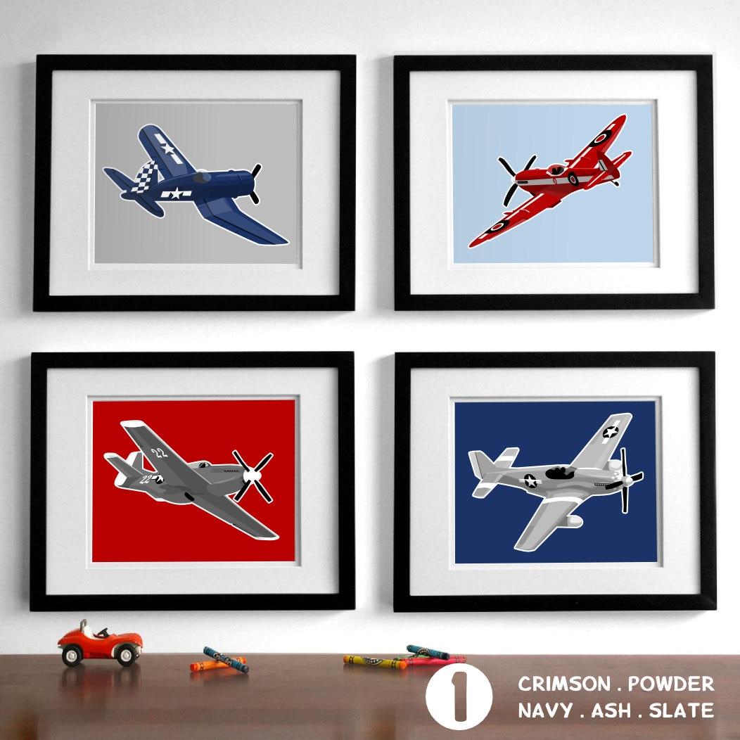 airplane nursery art vintage airplanes childrens art set of