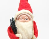 Vintage 1940's 8 Inch SANTA With Hand Painted Celluloid Face,  Holding Feather Tree and Toy Sack