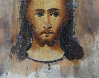 Antique Hand Painted Russian Orthodox Icon of Jesus