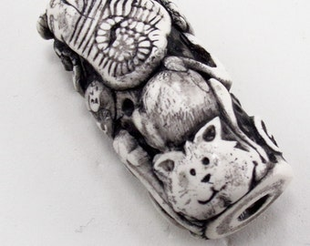 StudioStJames Rustic Boho Tube Bead-Handcrafted Polymer Clay Focal 18x34m Tube -Cats Eyes Black and White Bead-PA 9007