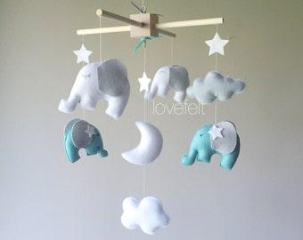 Baby mobile - Elephant Mobile - Baby mobile Elephant - elephant nursery - teal and gray mobile