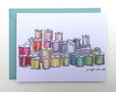 Blank Sewing card painted threads greeting card A2