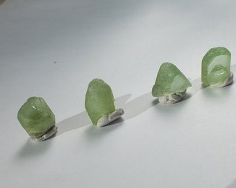 Peridot Crystals, x4, Terminated Point, High Grade, Geology Specimen, Raw Minerals, Jewelry Supplies - 2.1g/10.5ct 8-9mm PROTECTION (59-154)