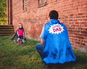 ADULT Custom Super Hero Cape - Super Dad Cape - Super Mom Cape - Adult Super Hero Capes - Superhero Cape - Adult Gift - Family Photo Prop