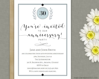 Anniversary Party Invitation Template in PDF  / Printable / DIY / Instant Download / Adobe Reader Required