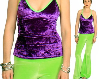 SALE XS Purple Crushed Velvet Camisole in Purple and Green