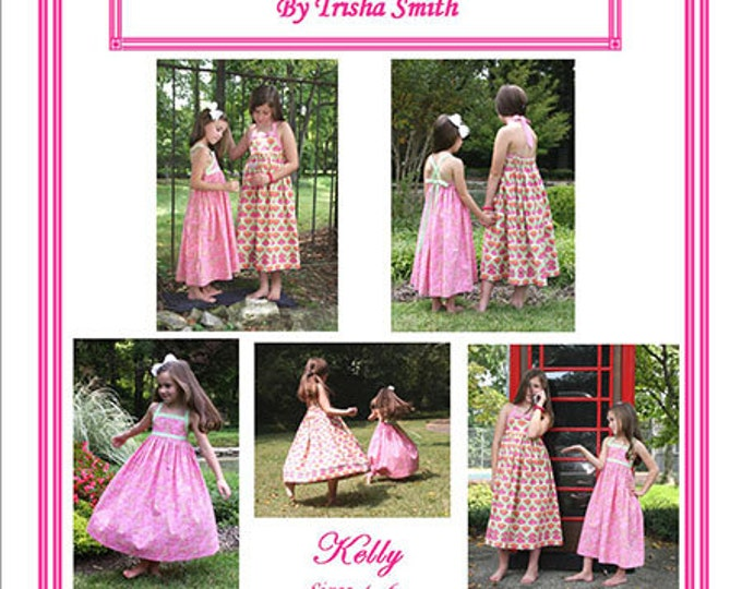 Kelly Pattern / Twirly Sundress Pattern / Tie At The neck or Cross Over Straps / Trisha's Treasures.