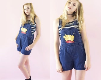 Winnie the Pooh Early 90s Navy Blue Overall Shorts, Vintage 90s Disney, Pooh Embroidered Overalls, Vintage Grunge, Women's Size Small/Medium