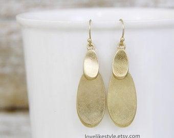 Light Worn Gold Double Drop Earrings, Bridesmaid Gold Earrings, Bridal Shower Earrings, Bridesmaid Gift, Simple Worn Gold Earrings - 6031