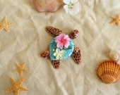 Sea turtle  figurine. Cute turtle with tropical flowers. One of a kind.