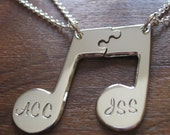Personalised Best Friend Music Note Pendants Necklaces