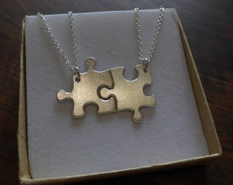 Best Friends Necklaces Two Silver Puzzle Piece Pendants, Satin
