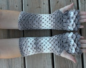 Dragon Scale Gloves / Dragon Scale Fingerless Gloves / Long Crochet Dragon Scale Gloves