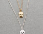 Skull Necklace | Tiny Skull Necklace | Dainty Layering Necklace | Birthday Gift for Girlfriend | Gold Charm Necklace | Gifts Under 30 |