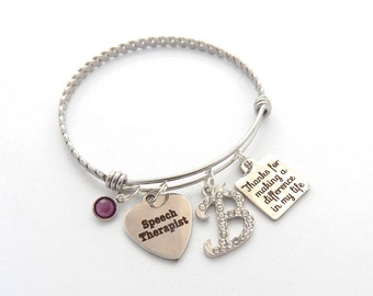 Speech THERAPIST Gift, Speech Therapist bracelet, Gifts for Speech therapists, Bangle, Thanks for making a difference in my life, RN Gift