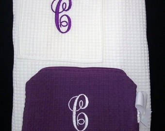 Personalized Wrap Cosmetic Bag Waffle Weave Spa Gift Set
