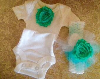 Baby Girl Aqua Blue Flower Trim Headband and Onesie Sizes Preemie, Newborn and up to 12 months.