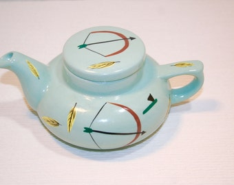 SUMMER SWOON CLEARANCE! Native American Teapot Mint Green Ceramic Graphic Arrows