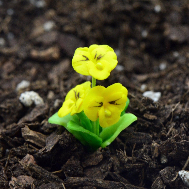 Miniature Yellow Pansy Flower Glass Terrarium Filler Hand Made