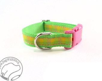 """Pink Lemonade Plaid Dog Collar - 1"""" (25mm) wide - Choice of size & style - Martingale or Plastic Quick Release // Lime // Yellow // Green"""