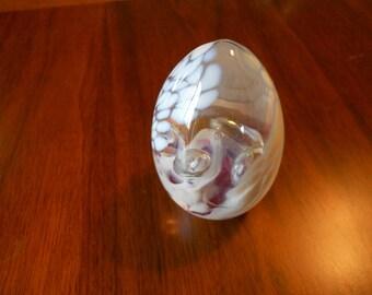 Glass egg paperweight.  Vintage.  Art glass.