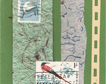 Birds - paper collage note card