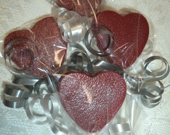 12 Decadent Red Velvet Heart Shaped Chocolate Valentines Day Wedding Day Engagement Lollipops Party Favors