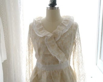 1920's Vintage Style Downton Abbey Victorian  Ruffles Collar Golden French Lace Beige Blosue Top Long Sleeves Great Gatsby