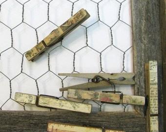 Vintage Christmas Decoupaged Decorative Clothespins - set of 6