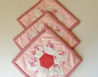 Three Handmade Pot Holders, Country Style Pink Hot Pads, Quilted Patchwork Pot Holders