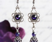 PURPLE LADY Earrings Victorian Bridal Crystal Royal Purple Earrings, Heirloom Renaissance Gothic Bridal Earrings, Custom Options Available