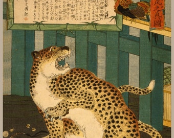 Japanese Art. Fine Art Reproduction.  'Changing times bring unseen things - true picture of a Tiger', 1860: Fine Art Print