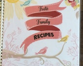 Recipe Book, Family Favorite Meals, Custom, Personalized Recipe  Book, Spring, Birds **Pink Banner**