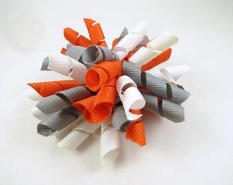 Gray Orange and White Korker Hair Bow  -  Orange Hair Bow - White Hair Bow - Grey Gray Hair Bow - Korker Hair Clip - Korker Hair Bow