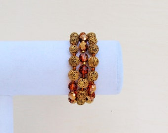 Vintage Marvella bracelet, 3 strand bracelet with amber crystal and filigree beads, 1960's multi strand bracelet