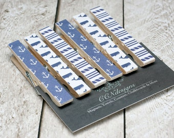 Blue Nautical Clothespin Magnets, Set of 6
