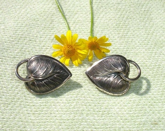 Vintage Danecraft Sterling Leaf Clip on Earrings -  FREE SHIPPING in U.S.A.