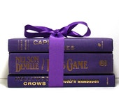 Purple Book Centerpiece, Free Shipping in USA, Three Hardcover Books Tied With Ribbon, Wedding Centerpiece, Table Decoration