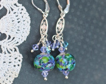 Earrings, Lampwork Bead Jewelry, Handmade Purple and Turquoise Beads, Sterling Silver