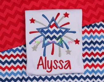 4th of July Shirt - 4th Of July Embroidered Shirt - Girls 4th Of July Shirt - Patriotic Shirt - Starburst Shirt - Girls July 4th Shirt