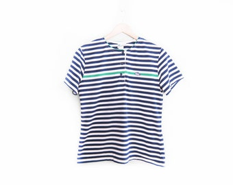 vintage t shirt / striped shirt / lacoste / henley / 1990s nautical navy striped t shirt Small