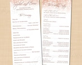 Rose Gold Sparkles Wedding Programs, Long (4.25x11, Portrait): Text-Editable in Microsoft® Word, Printable Instant Download